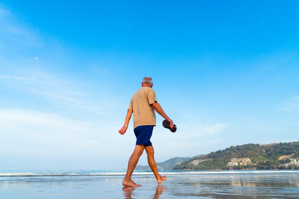 Senior citizen on beach